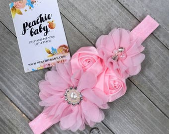 Light Pink Baby Flower Headband for Babies Newborns - Newborn Photo Prop - Baby Hair Accessories Birthday Party Outfit