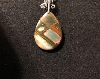 Picasso Jasper pendant with Silver-plated wire and 925 Sterling Silver-filled chain.  J 14