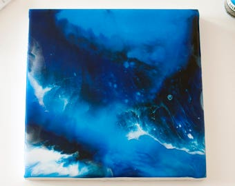 Blue Coast, resin artwork with mixed media on a wood panel. 8''/8''