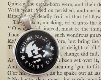Punch Nazis Every Day - Neonazi Silhouette Design - 25mm Round Pendant