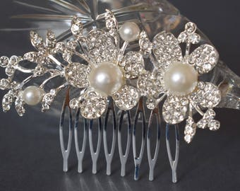 Wedding hair piece, wedding headpiece with Freshwater pearls, Wedding hair comb, Pearl Hair Comb, Bridal Hair Comb, Bridal Hair Piece
