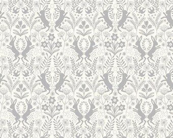 Little Hares, grey on white fabric by Lewis & Irene