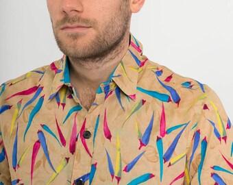Mens 100% Cotton Short Sleeve Slim Fit Shirt Brown Blue Multi Colour Chilli Print
