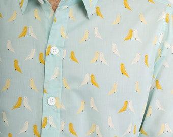 Mens 100% Cotton Long Sleeve Slim Fit Shirt Light Green Birds Print Lightweight Material