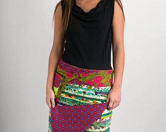 Reversible Cotton Skirt Green Patch Purple Print Detachable Pocket Long Length