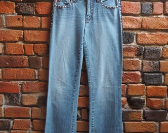 Women's 90s Parasuco Light Wash Blue Denim Bootcut Jeans With American Flag And Love Embroidery And Stud Details Size Small