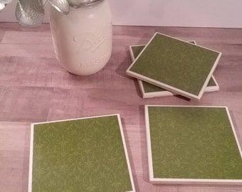 Green Filigree Coasters