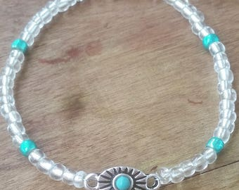 0/6 Clear and Turquoise Glass Beaded Bracelet with Silver and Turquoise Connector