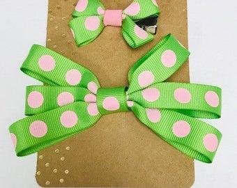 Green & Pink Polka Dot Hairbow Set