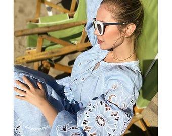 Blue Summer Kaftan Vyshyvanka Maxi Dress Loose Long Dress Plus Size  Long Linen Dress long Sleeve Embroidered Dress Summer Dress Oversize