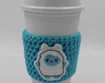 Crochet Cup Cozy - Cup Cozie - Yeti Cup Cozy - Big Foot - Snow Monster - Kawaii Yeti - Coffee Sleeve - Cup Sleeve - Crochet Cup Sleeve