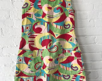 Vintage 1960s 60s sleeveless psychedelic print dress