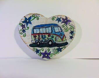 VW Bus on wooden heart