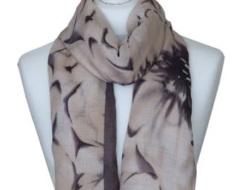 Floral Print Beige Scarf / Cotton Scarf / Spring Summer Scarf / Autumn Scarf / Womens Scarves / Gift For Her / Fashion Accessories