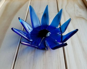 Dark Blue Fused Glass Petal Dish