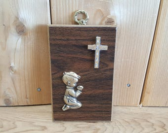 Vintage Praying Child with Cross Wood Small Wall Hanging Plaque Religious Gift Christian Baptism Prayer Communion Catholic Confirmation