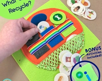 Recycling Activity Quiet Book Page for TinyFeats Busy Book - Best Eco-Friendly Educational Toy for Kids Age 3 - 6- Montessori Practical Life