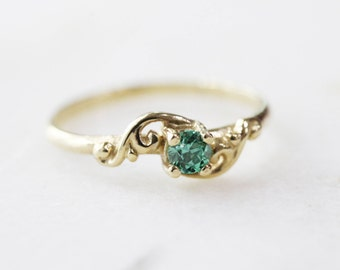 Dainty Green Crystal Midi or Baby Ring