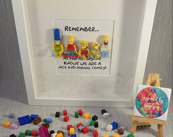 The Simpsons//Family//Minifigures//Gift//Shadow Box Frame//Personalised//Geek//Family Portrait//Lego//Geek//Mothers Day/Fathers Day/Birthday
