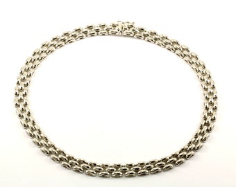 Vintage Panther Style Chain Necklace 925 Sterling Silver NC 720-E