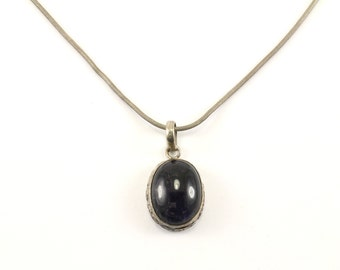 Vintage Oval Amethyst Pendant Necklace 925 Sterling Silver NC 924
