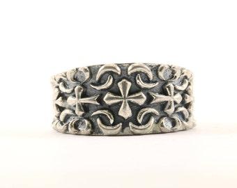 Vintage Cross Design Band Ring 925 Sterling RG 513