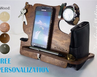 Free Personalization | Wooden Docking Station | Birthday Gifts | Gift For Husband | Valentine's Gift | Gift For Brother | Gift For Dad |S-03