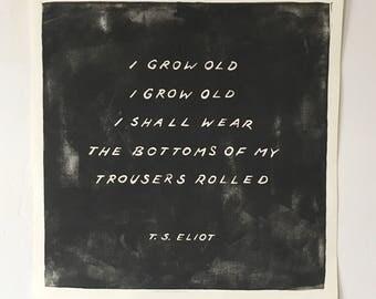 "T. S. Eliot Linocut Print 12"" x 12"""
