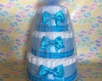 Baby Boy Blue Diaper Cake / Baby Shower Centerpieces