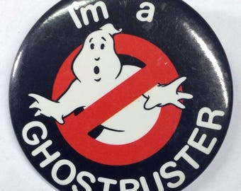 """Vintage Ghostbuster's Movie Memorabilia 1984 Pin Back Button """"I'm A Ghostbuster"""", Collectible No Ghost """"Ghostbusters"""" 80s Movie Button Pin"""