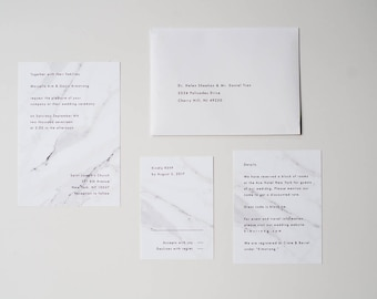 Marble Invitation Suite / Modern Minimalist Invitation / Black and White