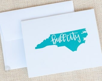 Bull City Folded Cards and Envelopes - NC Stationery -  Durham, NC Note Cards - Bull City Stationery - Hostess Gift - State Stationery