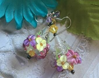 Flower Lampwork Earrings, Pastel Floral Earrings, Cone Earrings, Lampwork Jewelry, Gift For Her, SRA Lampwork Earrings, SRA Lampwork Jewelry