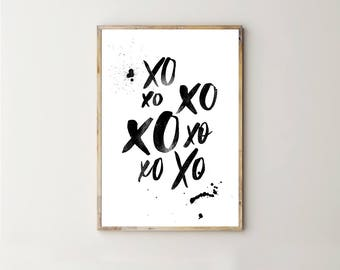 XO Print, Hugs and Kisses Printable, Digitald Download, 0X Poster, Teen Room Decor, Gifts for Girls, Black Ink Art, Watercolour Typography