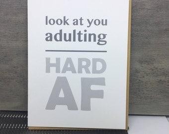Adulting Card. New Homeowner. Friend Congrats Card. Funny New Job Card. Funny New Home Card. Funny Moving Card. Funny Wedding Cards.