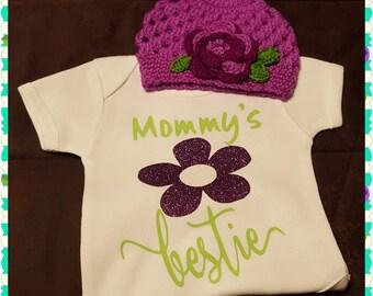 Mommy's Bestie Onesie or Tee with Crochet'd Hat