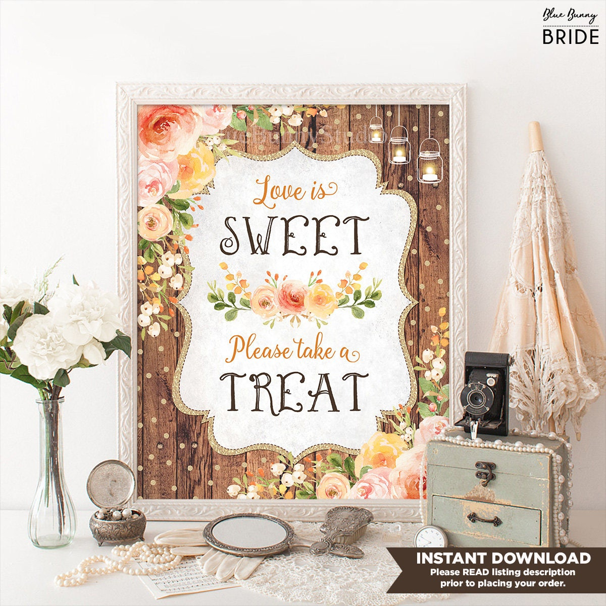 Love Is Sweet Bridal Shower Sign. Rustic Wood Wedding Favors. Fall ...