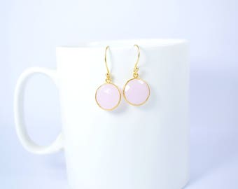 rose quartz earring,light pink color earring,round shape earring ,dangle earring,gemstone earring,Christmas gift,rose quartz jewelry