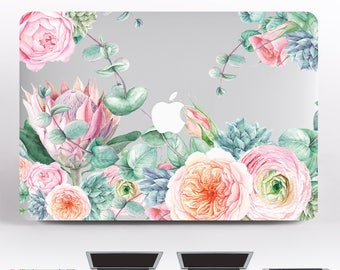 Flowers Sticker MacBook 13 inch MacBook Decal Floral MacBook Air 11 Skin Pink Mac Sleeve Laptop Keybord Stickers MacBook 2016 Skin DR027