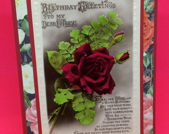 Vintage wife birthday card - upcycled vintage birthday greetings postcard for wife