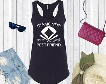 Diamonds Are a Girl's Best Friend Tank Top. Custom Tanks. Baseball Mom.Softball Shirt. Baseball Shirt.