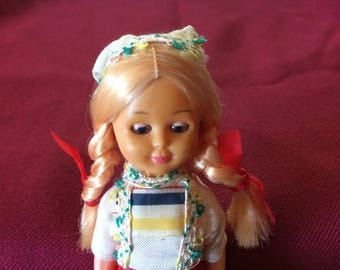 Vintage Eastern European Plastic Doll, in Traditional Costume - 1970