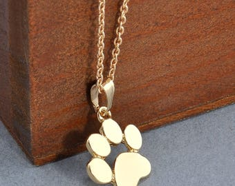 Dog Necklace Fashion Cute Pets Dogs Footprints Paw Chain Pendant Necklace Woman's Sweater Necklace