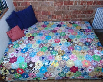 Beautiful multi-coloured, handmade patchwork made from hexagons - King Size