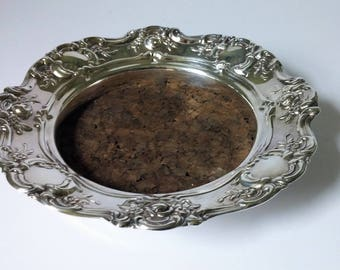 Towle Silver Plate Wine Coaster - Cork Insert  Old Master Pattern 4079