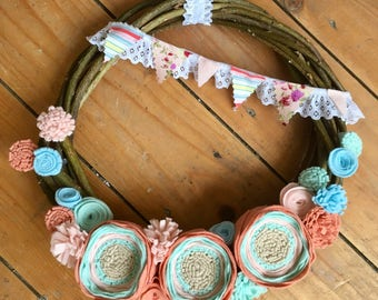 Felt Flower Wreath, Handmade Willow Wreath, Felt Flowers, Bunting, Special Gift, Home Decor, New Home, Birthday, Pinks, Blues, Floral,Pretty