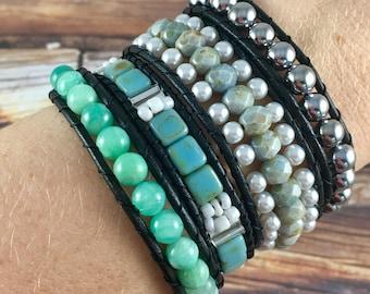 Wrap Bracelet, Green Aqua Wrap Bracelet, Leather Wrap Bracelet, Beaded Wrap Bracelet, Beaded Bracelet, Leather Wrap, YoungBeadsCrafts