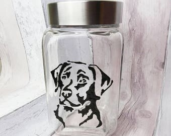 Labrador hand painted dog treat jar, Dog gift, Dog biscuit jar, Stainless steel screw top glass jar, Pet snack container, Kitchen canister