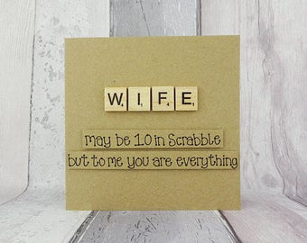 Wife Scrabble card, Scrabble Valentine's Day card, Birthday card for wife, Handmade Scrabble tile card, Romantic anniversary card, Love card