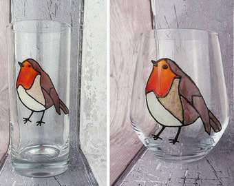 Robin Red Breast hand painted tumbler, Robin stemless wine glass, Stained glass effect bird glasses, Christmas gift, Gift for birder